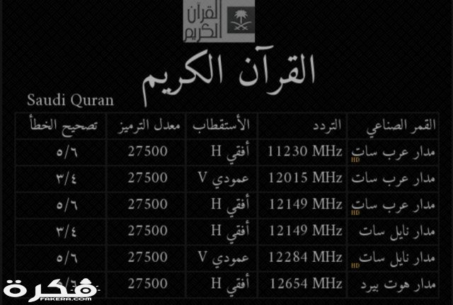 تردد قناة القرآن الكريم السعودية 2020 موقع فكرة