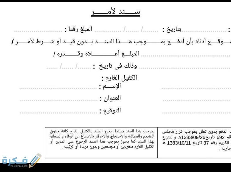نموذج سند لأمر وزارة العدل