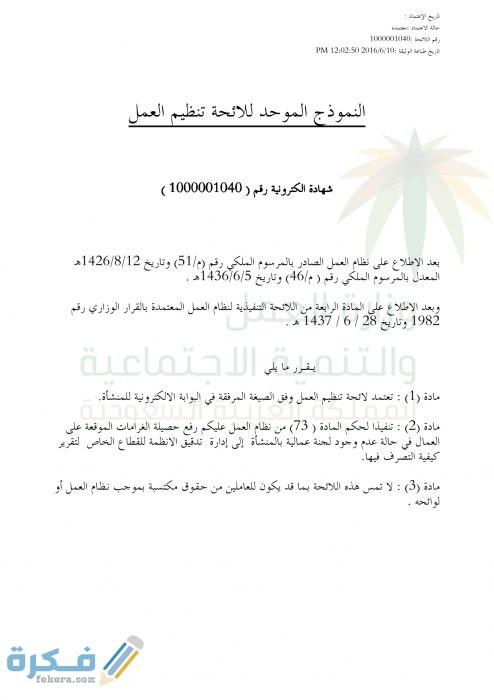 نموذج لائحة تنظيم العمل السعودية 1442 موقع فكرة