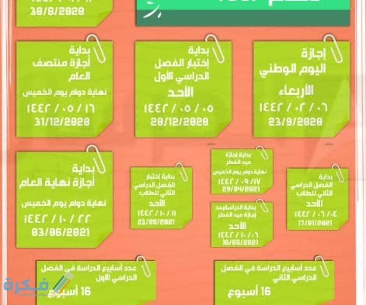 التقويم الدراسي السعودي 1442 هجريًا