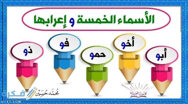 شرح مفصل الأسماء الخمسة ونماذج إعرابية لها