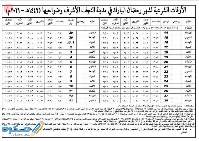 امساكية رمضان العراق 2021